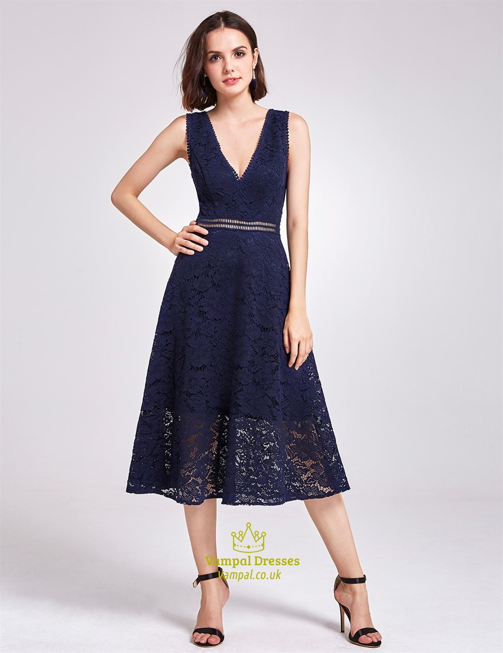 9a561ee78c90 Tea Length Navy Blue Sleeveless Deep V Neck A-Line Lace Cocktail Dress SKU  -FS2931