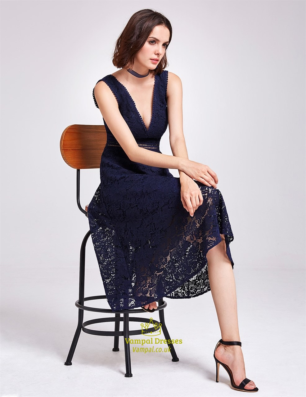 4fa015e7e0e Tea Length Navy Blue Sleeveless Deep V Neck A-Line Lace Cocktail Dress