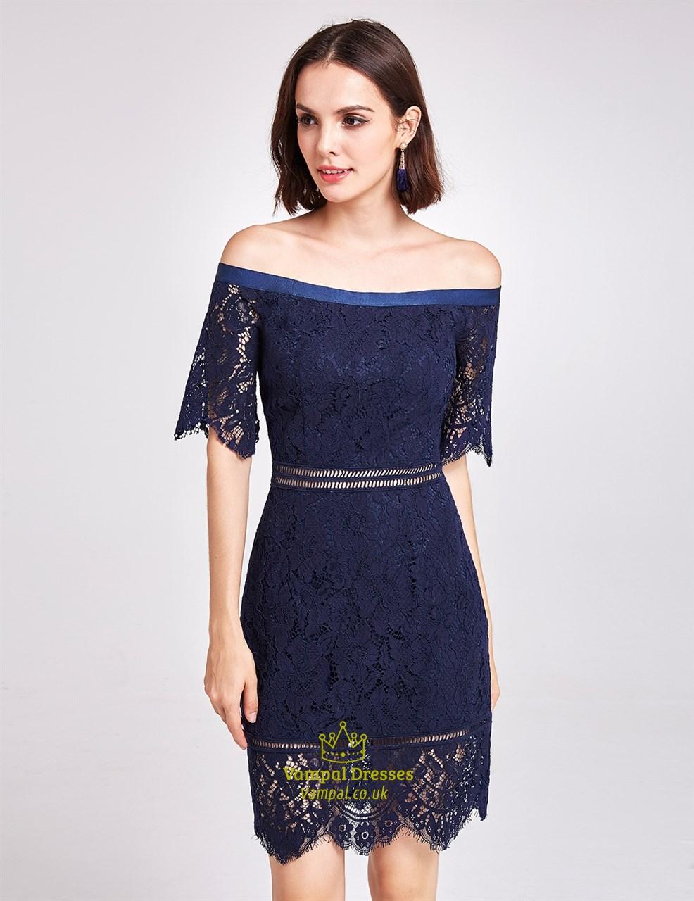Navy Blue Off Shoulder Half Sleeve Short Sheath Lace ...