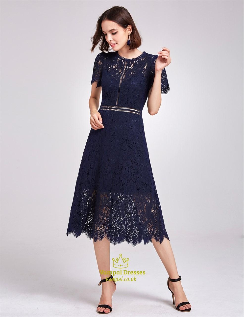 Tea Length Navy Blue Dresses