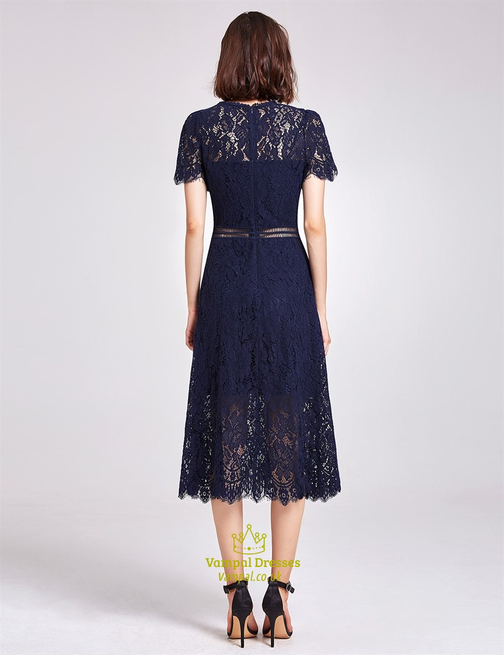Elegant Navy Blue Short Sleeve A-Line Tea Length Lace ...
