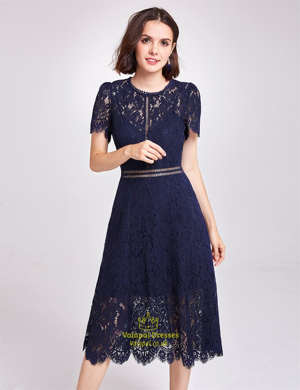 Elegant Navy Blue Short Sleeve A-Line Tea Length Lace Cocktail Dress ...