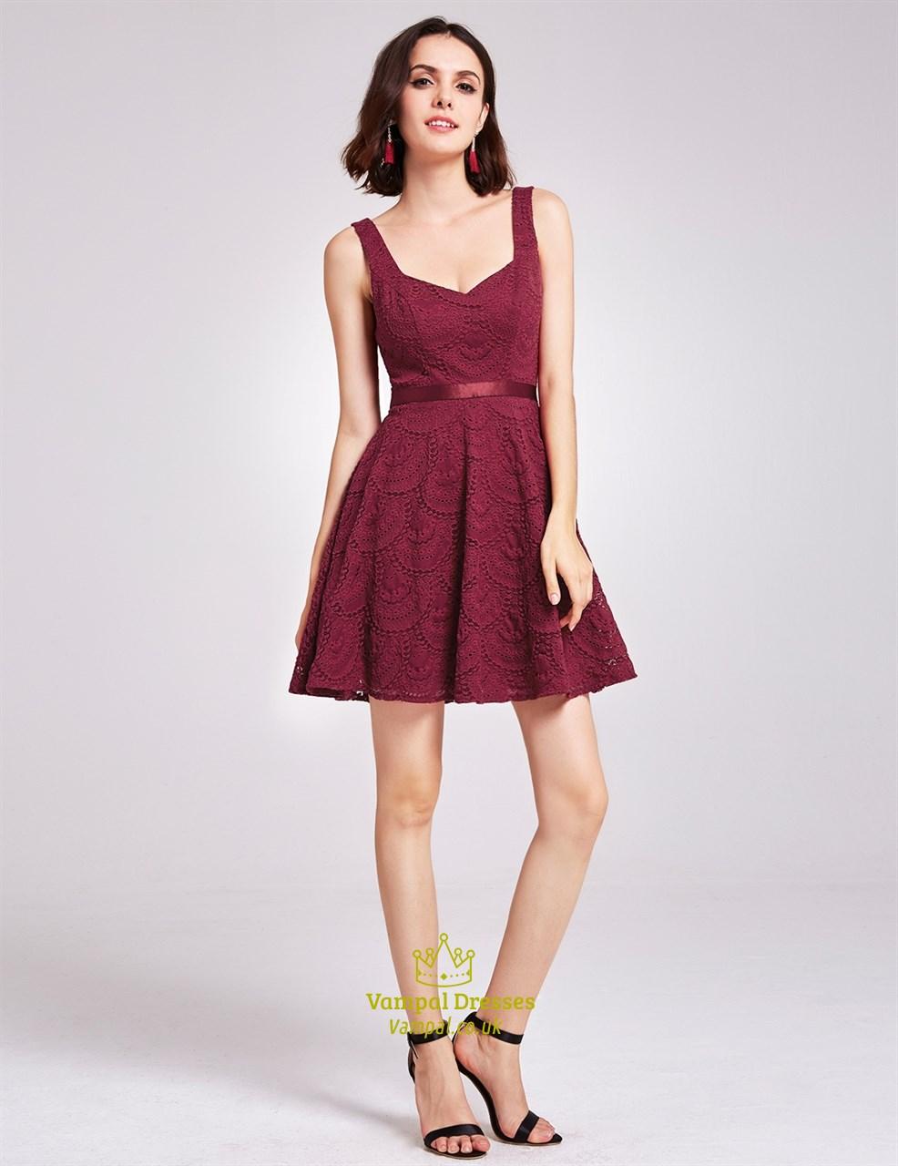 6ec9b89ed4d Charming A Line Burgundy Lace Sleeveless Short V Neck Homecoming Dress SKU  -FS2936