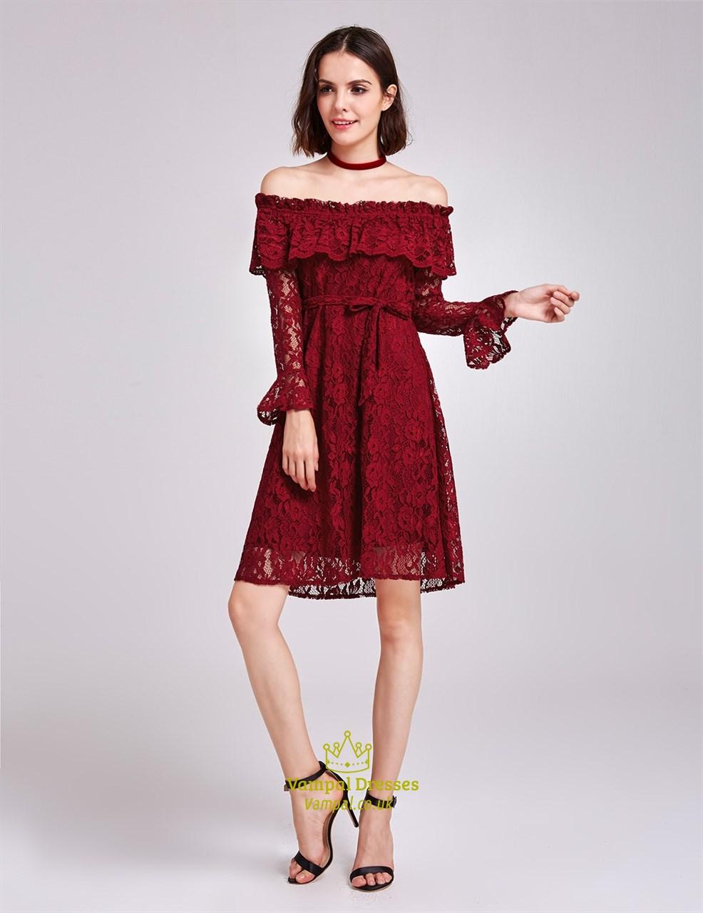 454704dc467d Burgundy Off The Shoulder Long Sleeve A-Line Short Lace Cocktail Dress