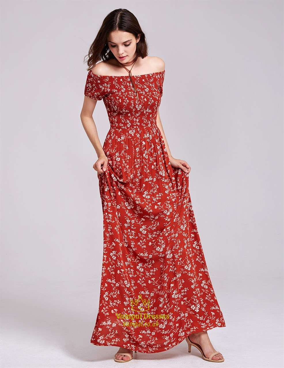 Off Shoulder A-Line Short Sleeve Floor Length Floral Print Maxi Dress | Vampal Dresses