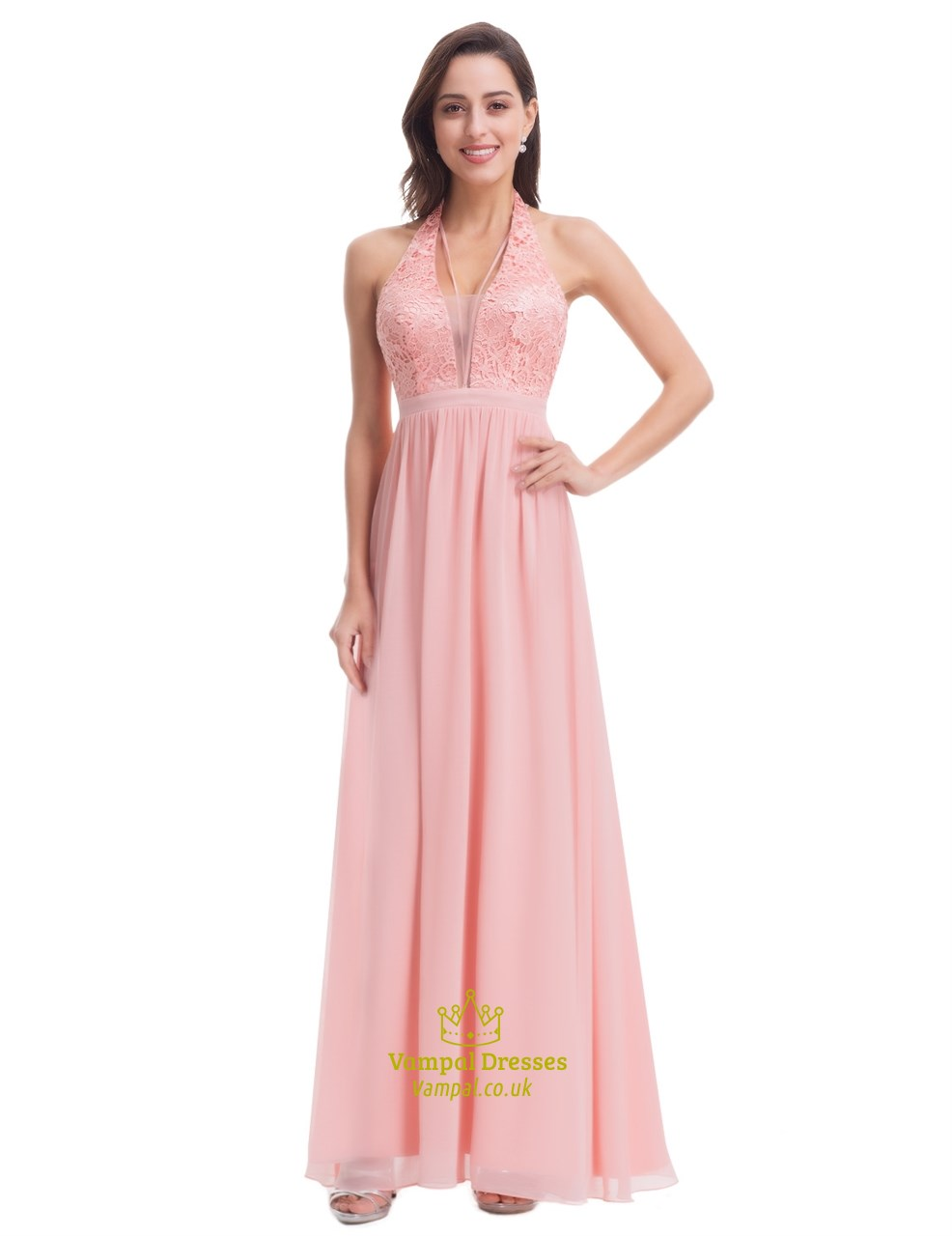 b05e47ef130 Halter Deep V-Neck Empire Waist A-Line Lace Top Chiffon Long Prom Gown SKU  -FS2941