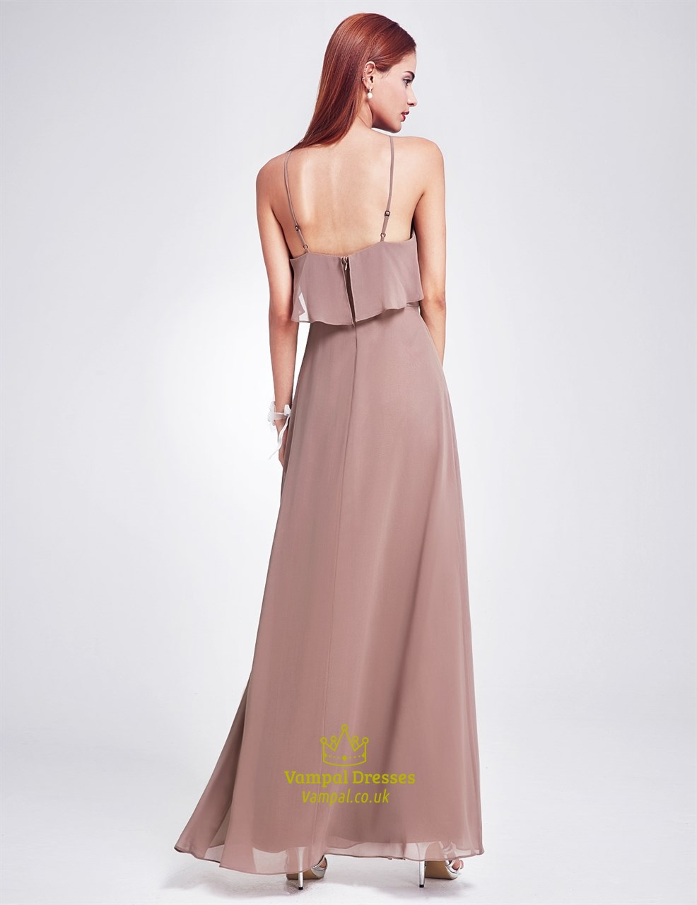 Spaghetti strap a line floor length chiffon prom dress for Floor length dresses