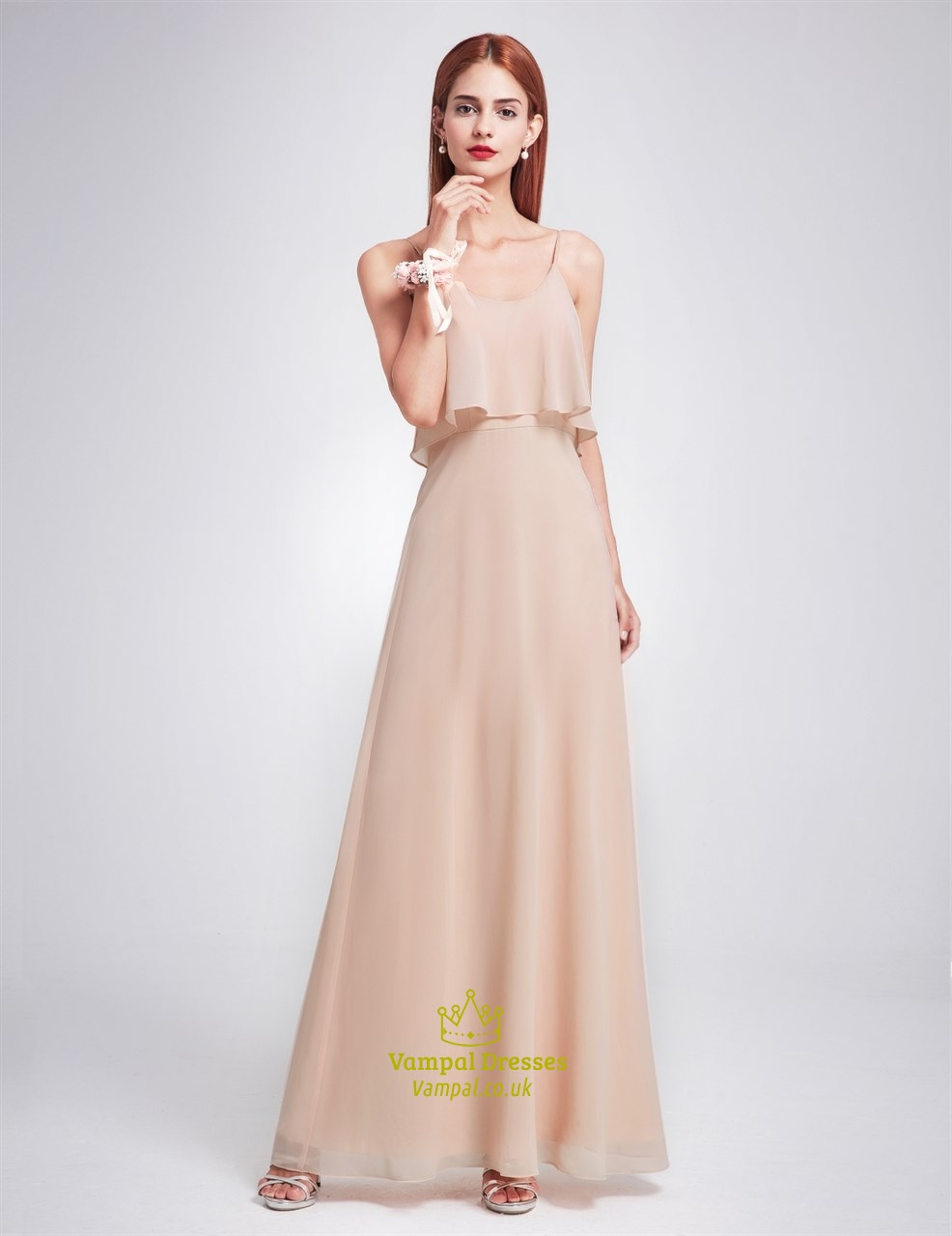 Simple Spaghetti Strap A-Line Floor Length Chiffon Bridesmaid Dress ...