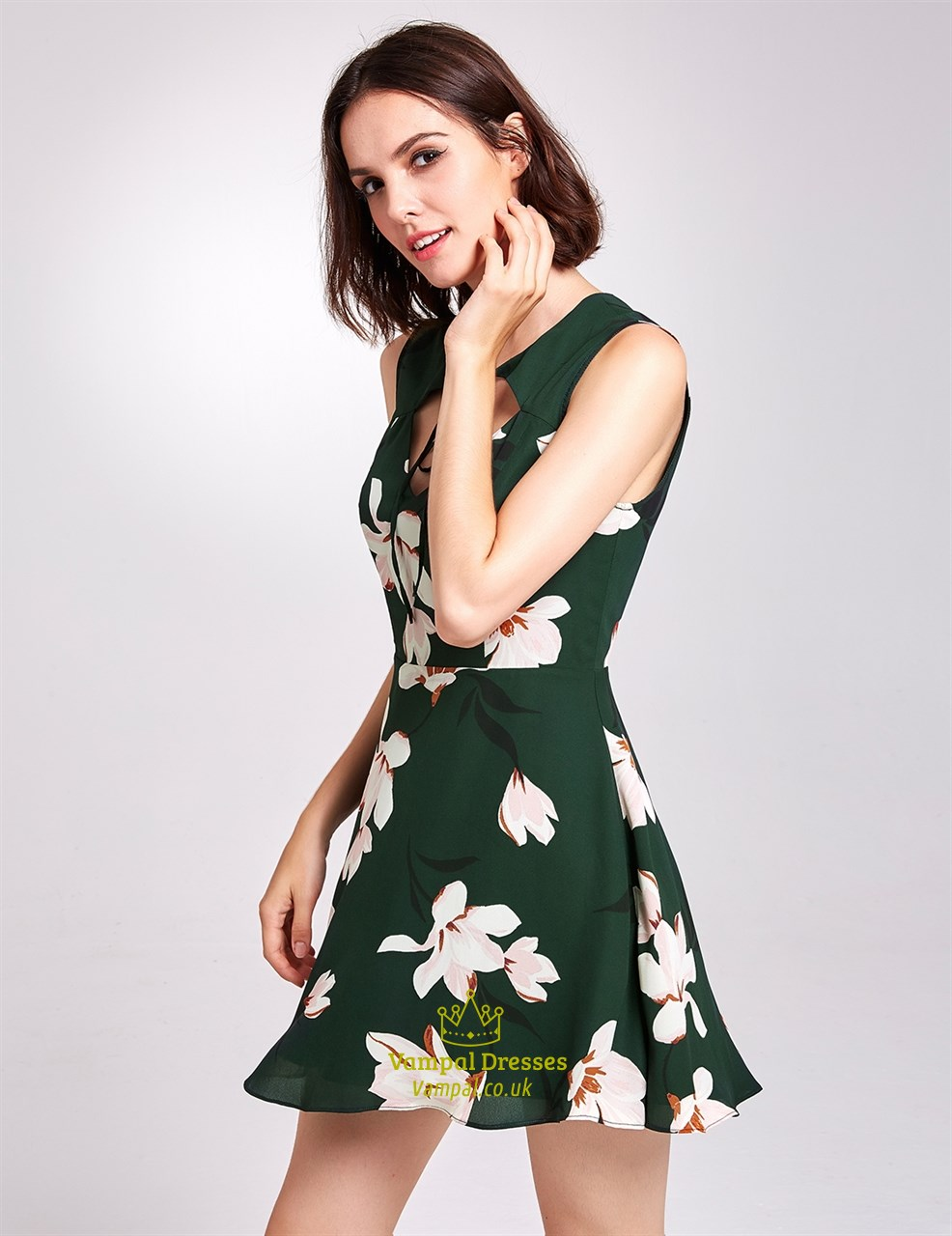 a33f1bd57f70 Dark Green Floral Sleeveless Knee Length A-Line Dress With Keyhole ...