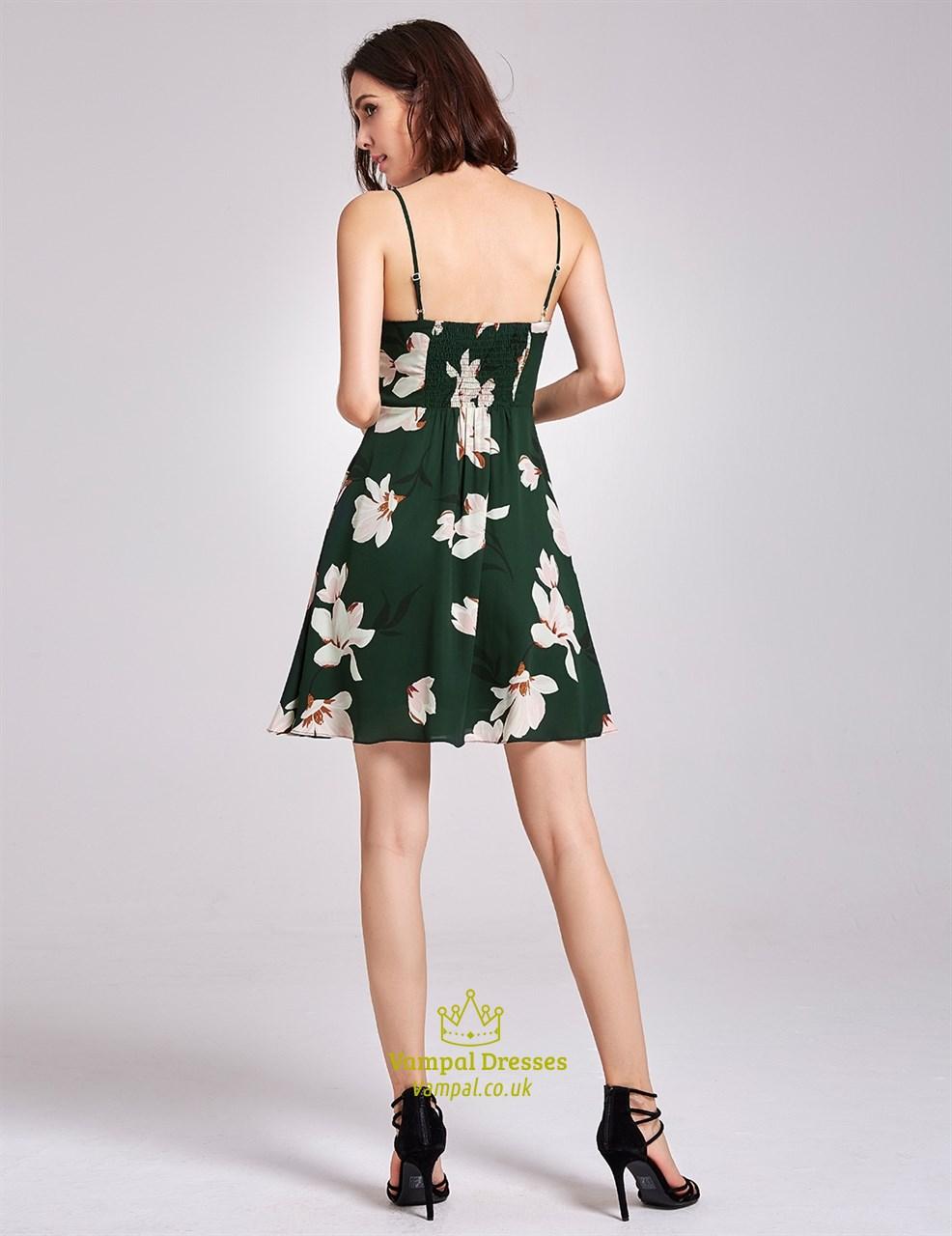 7aa9c341c2d3 Lovely Dark Green Spaghetti Strap Knee Length A-Line Floral Dress ...