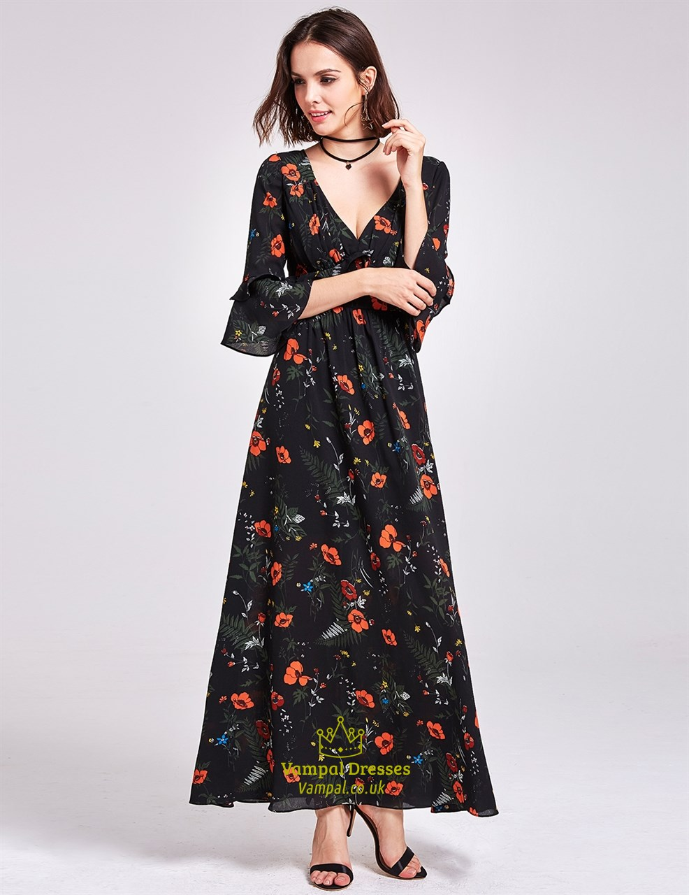 3b47ccb1692 Deep V Neck Ankle Length A-Line Floral Print Dress With Bell Sleeves SKU  -FS2954