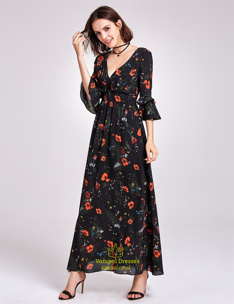 Deep V Neck Ankle Length A Line Floral Print Dress With