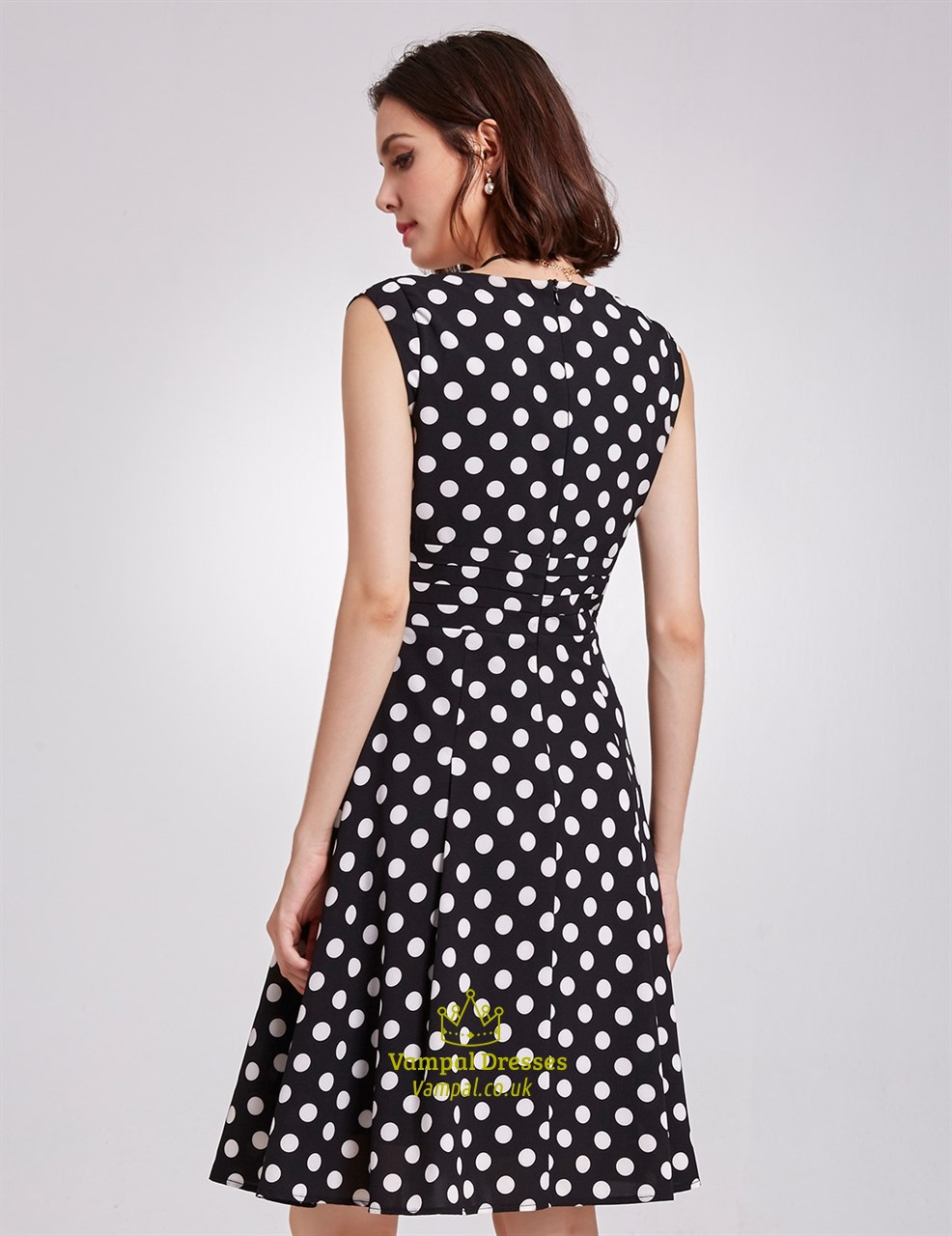 Black And White Polka Dot Cap Sleeve V Neck A Line Knee