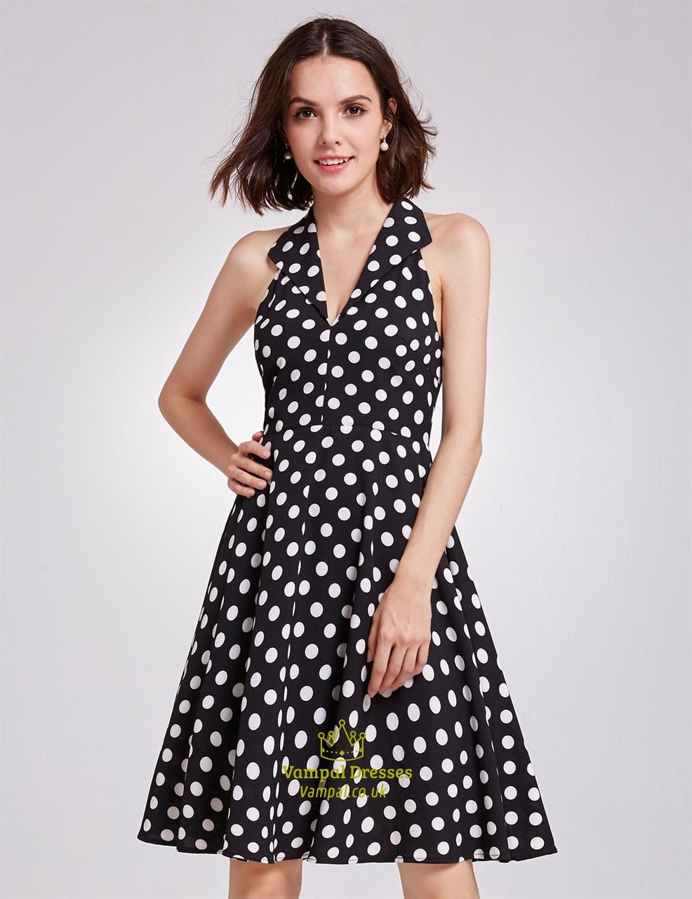 55fd952fac18 Sleeveless Black And White Polka Dot Knee Length V-Neck A-Line Dress SKU  -FS2959