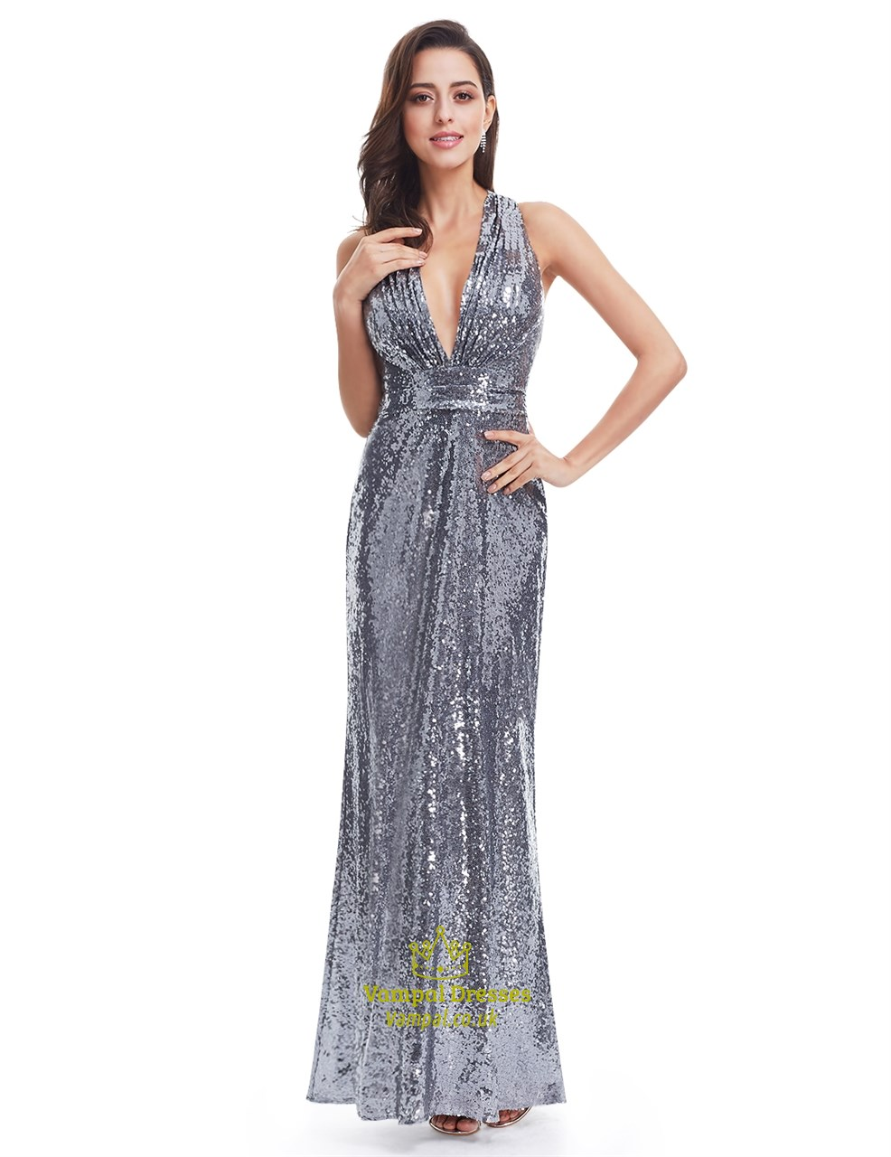 Grey Plunge V Neck Sleeveless Floor Length Sequin Prom Gown | Vampal ...