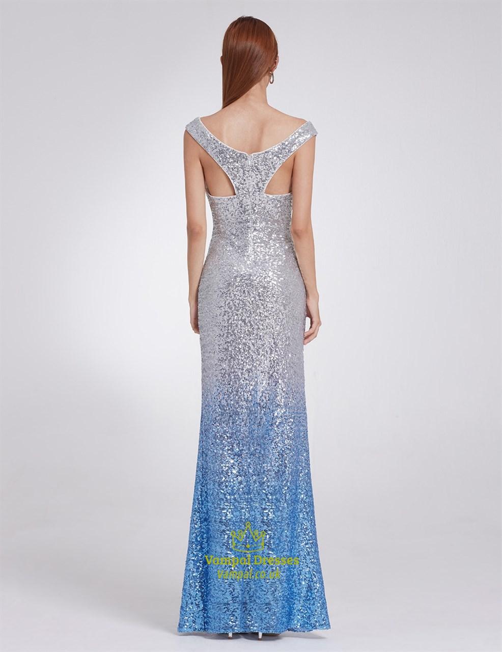 Blue Elegant V Neck Floor Length Sequin Sheath Mermaid ...