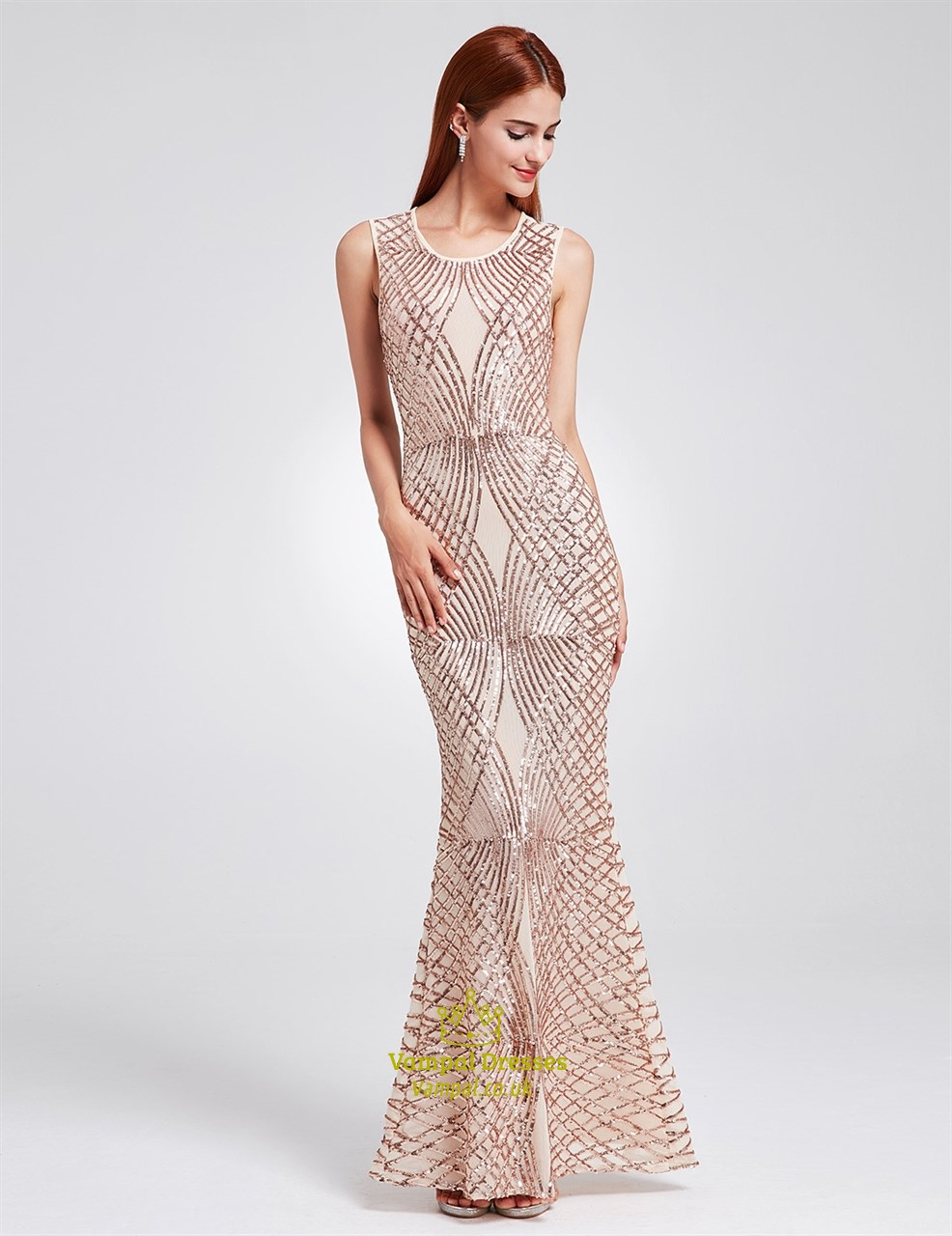 Elegant sleeveless sequin embellished mermaid floor length for Floor length dresses