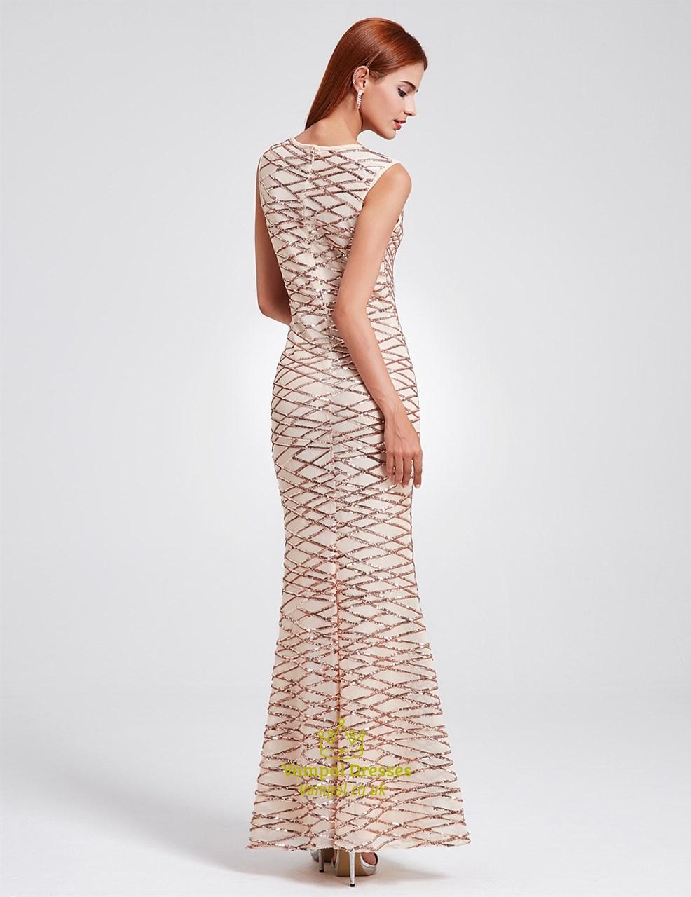 Elegant Sleeveless Sequin Embellished Mermaid Floor Length