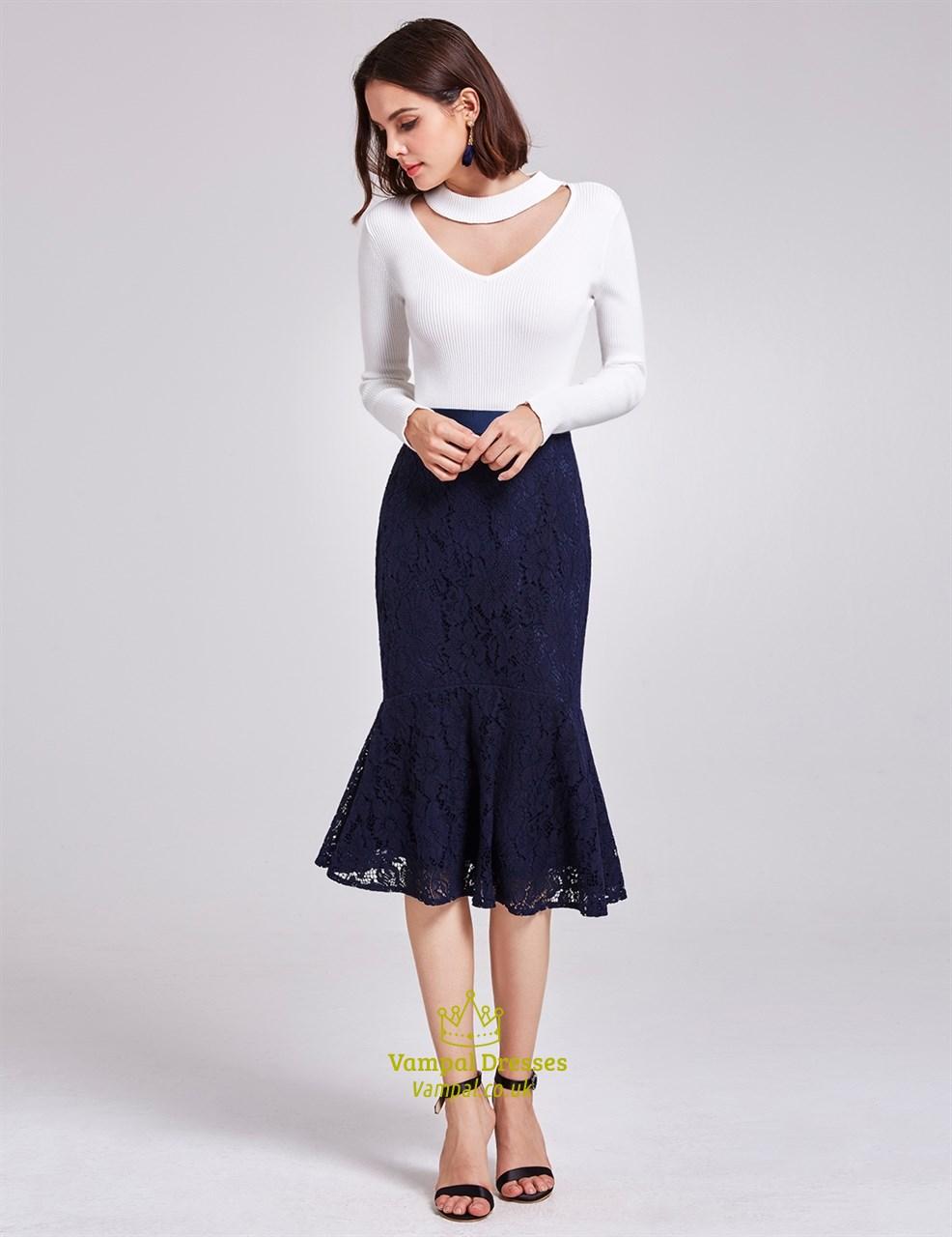 Tea Length Blue Dresses