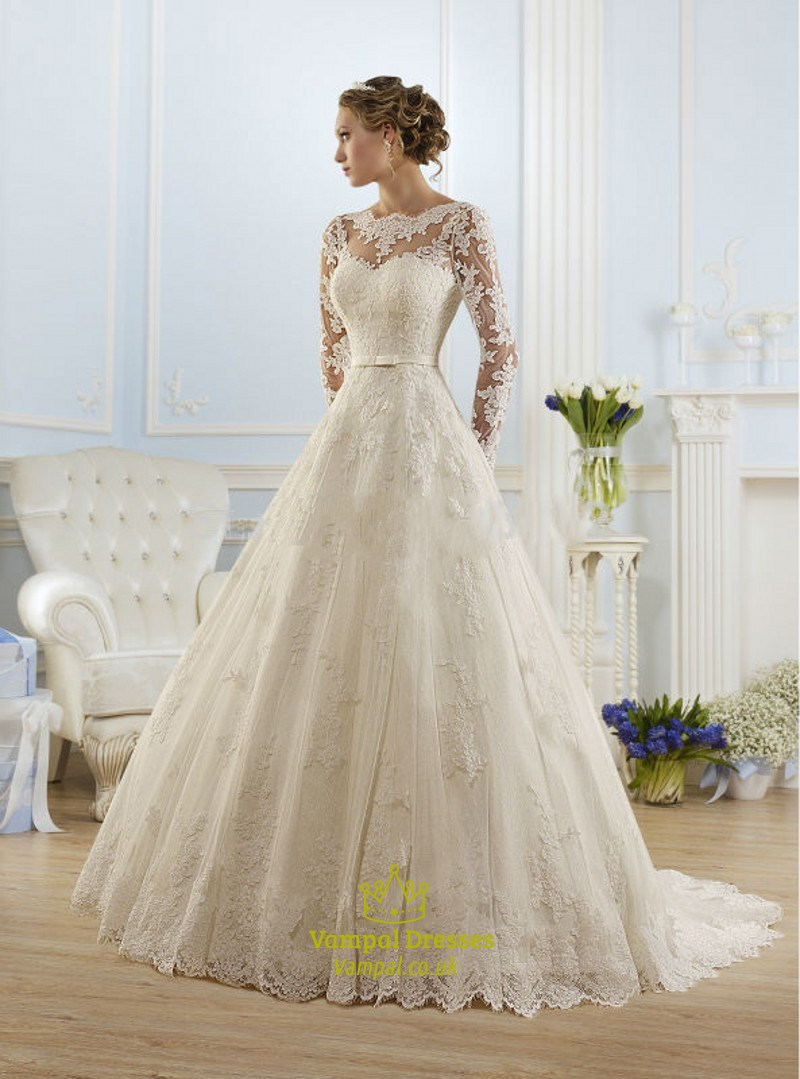 Illusion long sleeve open back lace a line ball gown for Wedding dresses lace back