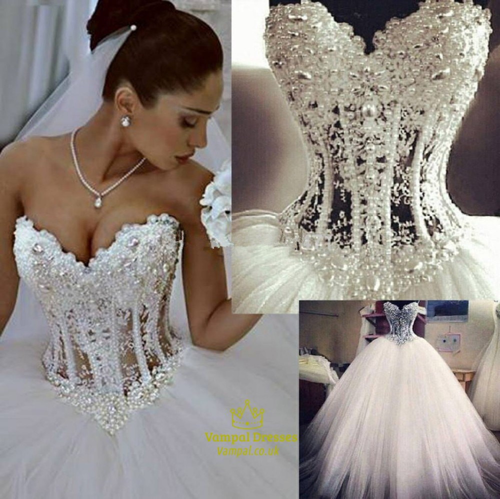 Strapless Illusion Beaded Corset Bodice A-Line Tulle Wedding Dress ...