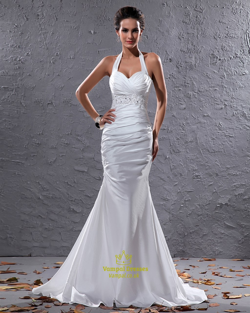 Elegant White Halter Neck Floor Length Lace Embellished