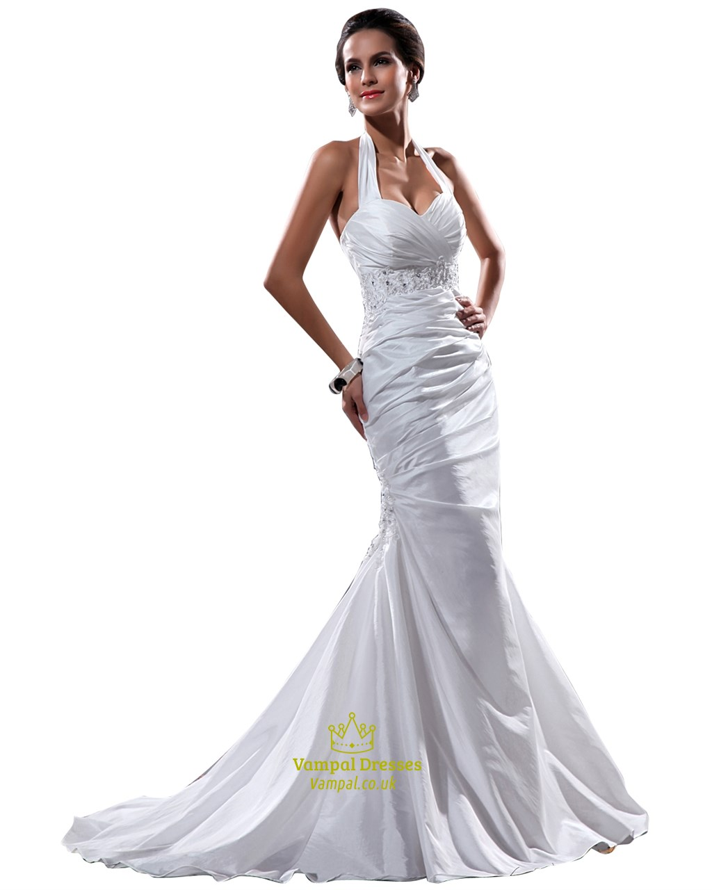 Elegant white halter neck floor length lace embellished for White elegant wedding dresses