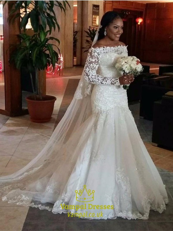 Off The Shoulder Long Sleeve Mermaid Wedding Dress With Lace Bodice ...