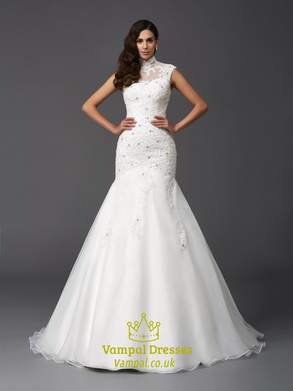 High Neck Cap Sleeve Mermaid Ball Gown Wedding Dress With
