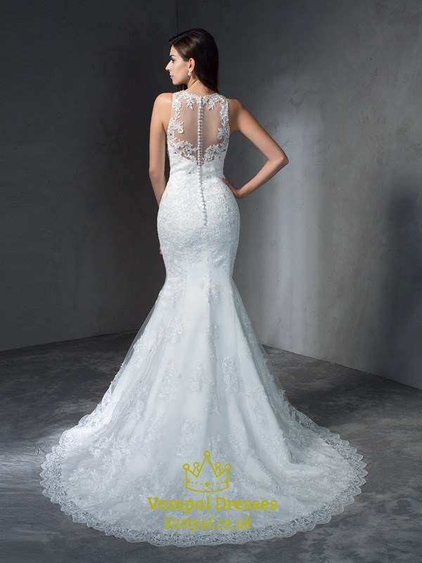 Sleeveless Floor Length Lace Mermaid Wedding Dress With Illusion