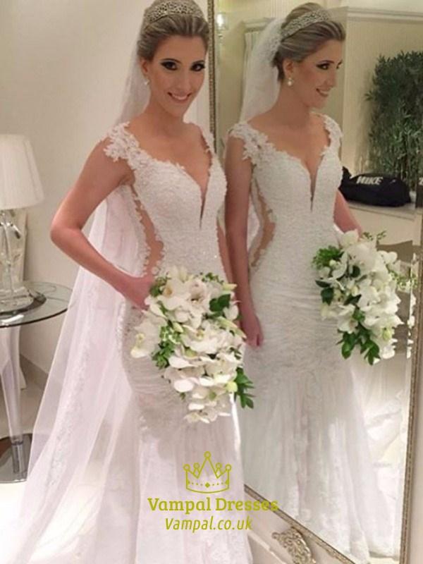 V Neck Cap Sleeve Cut Out Waist Mermaid Wedding Dress With Open Back ...