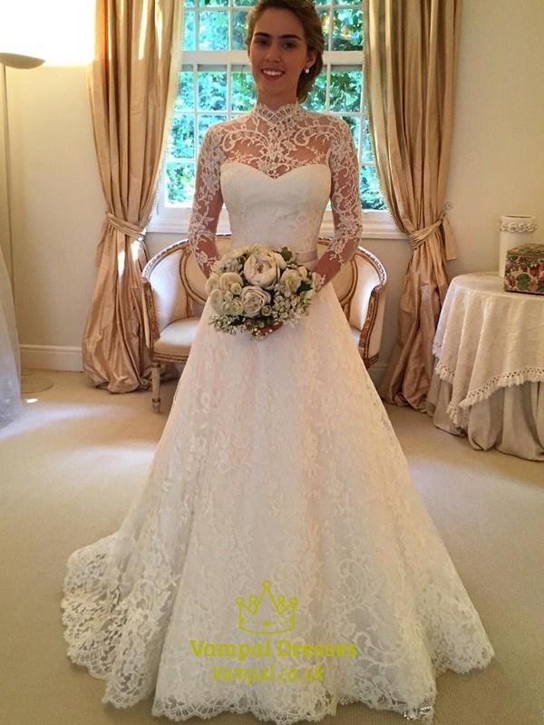 Illusion High Neck Long Sleeve Lace A Line Keyhole Back Wedding Dress
