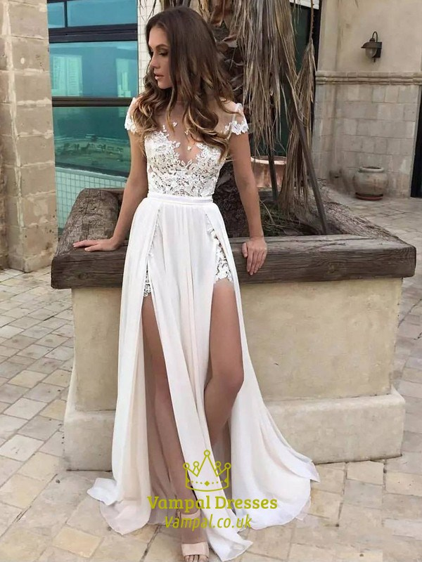 Illusion Neckline A Line Lace Chiffon Beach Wedding Dress