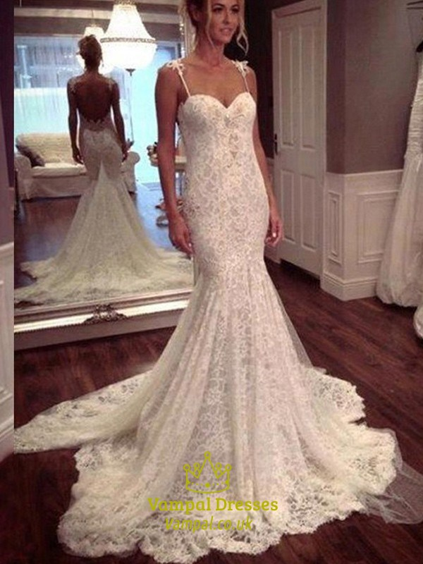 Spaghetti Strap Sweetheart Lace Mermaid Wedding Dress With Open Back ...