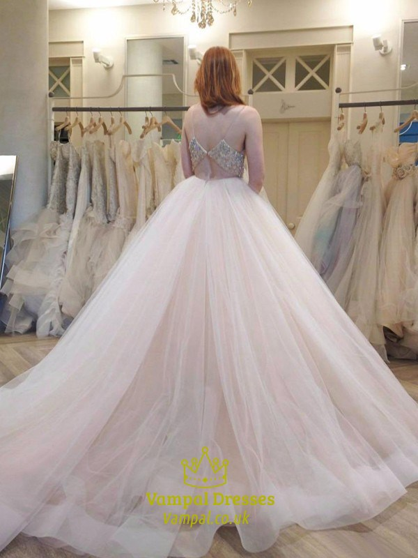 Spaghetti strap v neck beaded empire waist ball gown for Spaghetti strap ball gown wedding dress