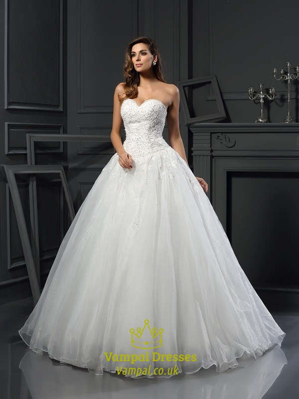 Elegant Strapless Sweetheart A-Line Organza Ball Gown Wedding Dress ...