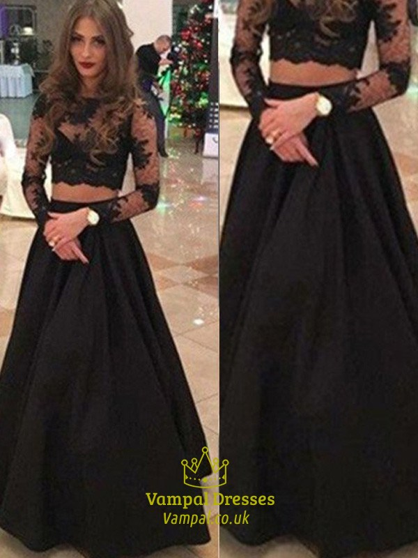 Black Illusion Long Sleeve Lace Bodice A Line Two Piece Formal Dress