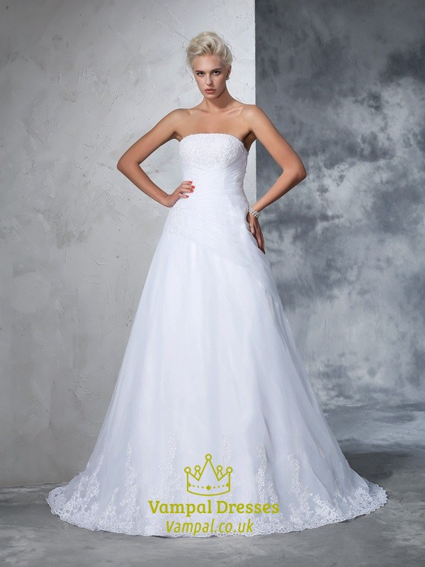 Simple Elegant Strapless Floor Length Lace Embellished Wedding Dress ...