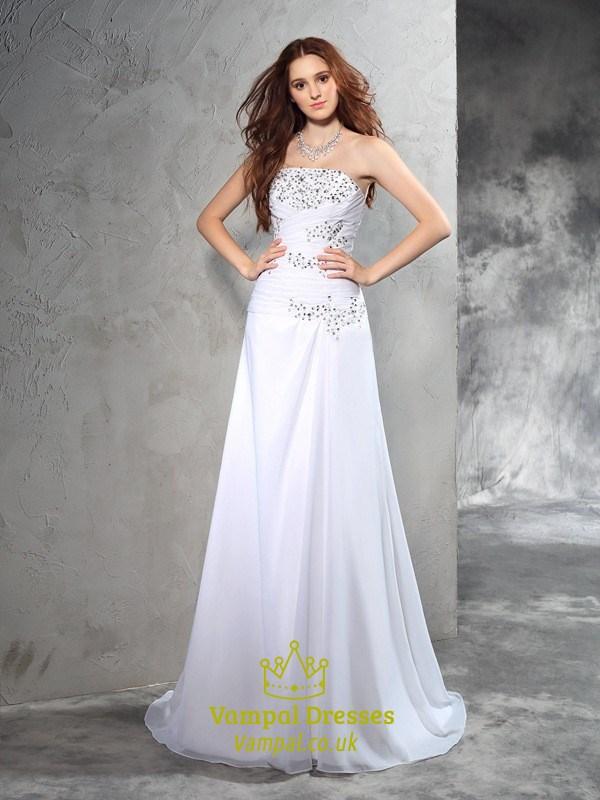 White Strapless Floor Length Beads Embellished Chiffon Wedding Dress ...