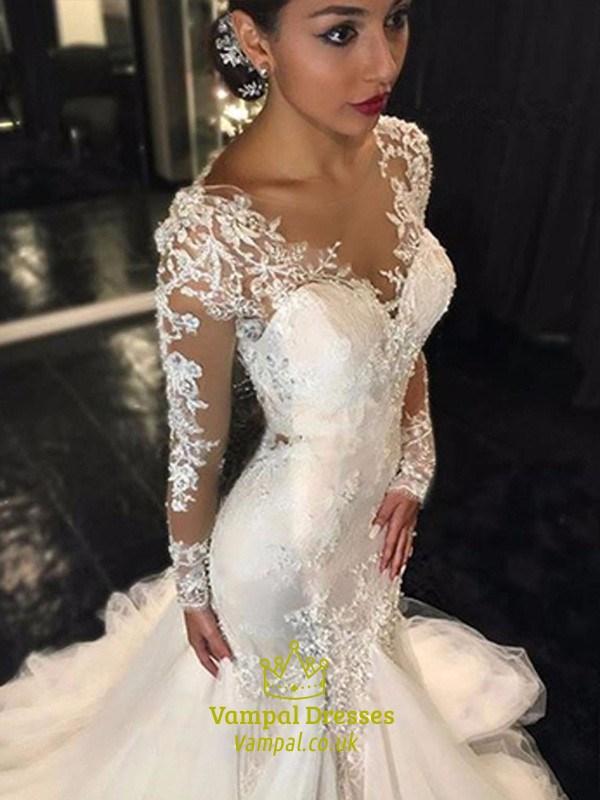 8ef96fb10ac Trumpet Mermaid Illusion Long Sleeve Lace Applique Tulle Wedding Dress SKU  -FS3025
