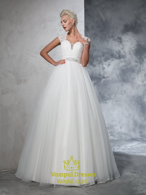 White A-Line Organza Ball Gown Wedding Dress With Lace Cap Sleeves ...