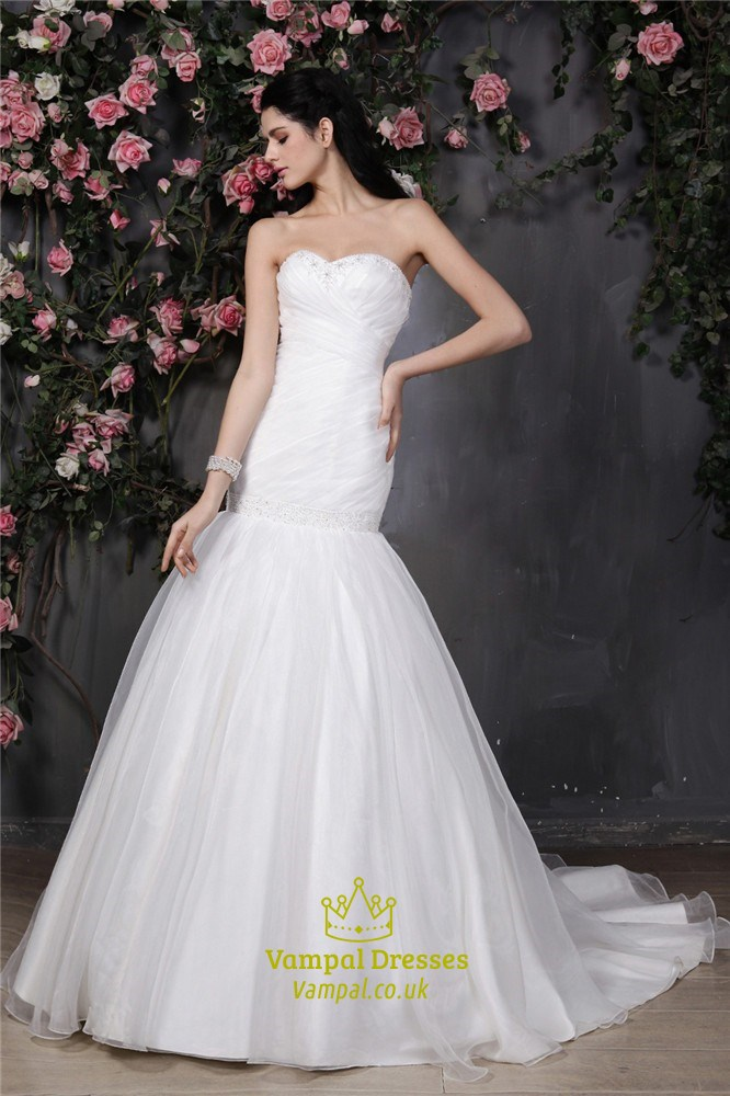 Trumpet mermaid strapless sweetheart neckline drop waist for Trumpet mermaid sweetheart wedding dress
