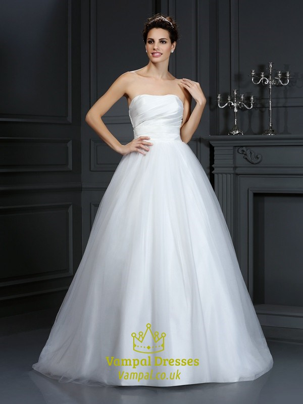 Simple Strapless White Ruched Bodice A Line Ball Gown Wedding Dress