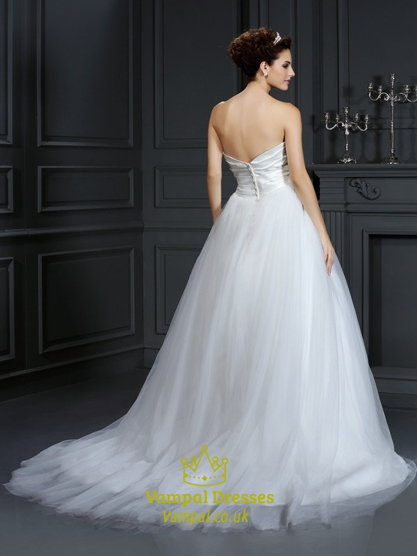 Simple strapless white ruched bodice a line ball gown for Simple white strapless wedding dress