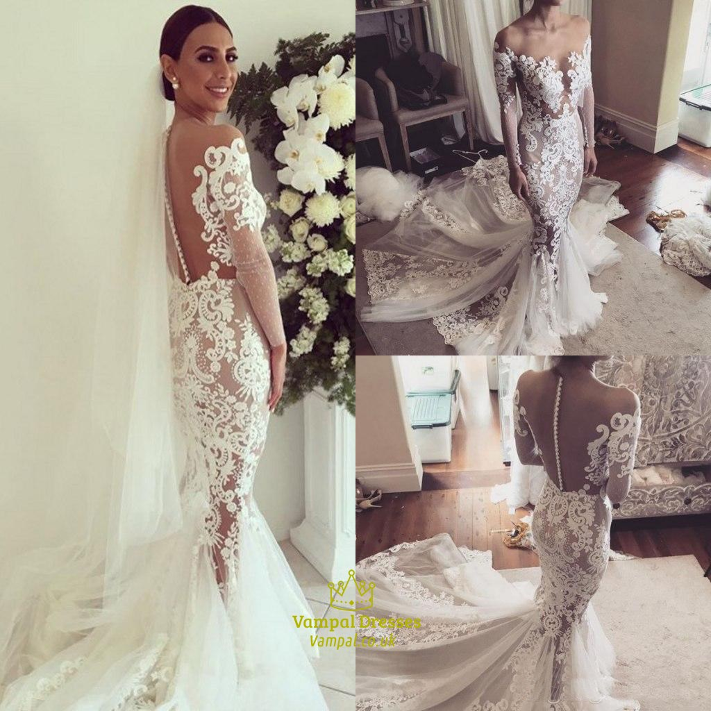 Illusion sheer neckline long sleeve mermaid wedding dress for Mermaid wedding dress with train