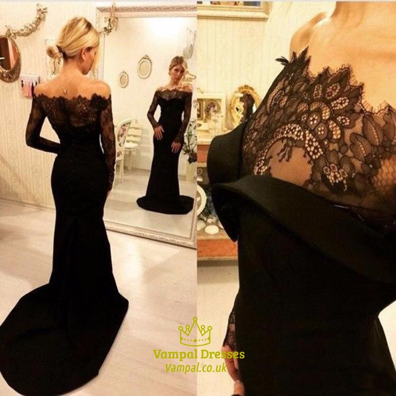 Black Off The Shoulder Sheer Lace Long Sleeve Mermaid Evening Dress ...