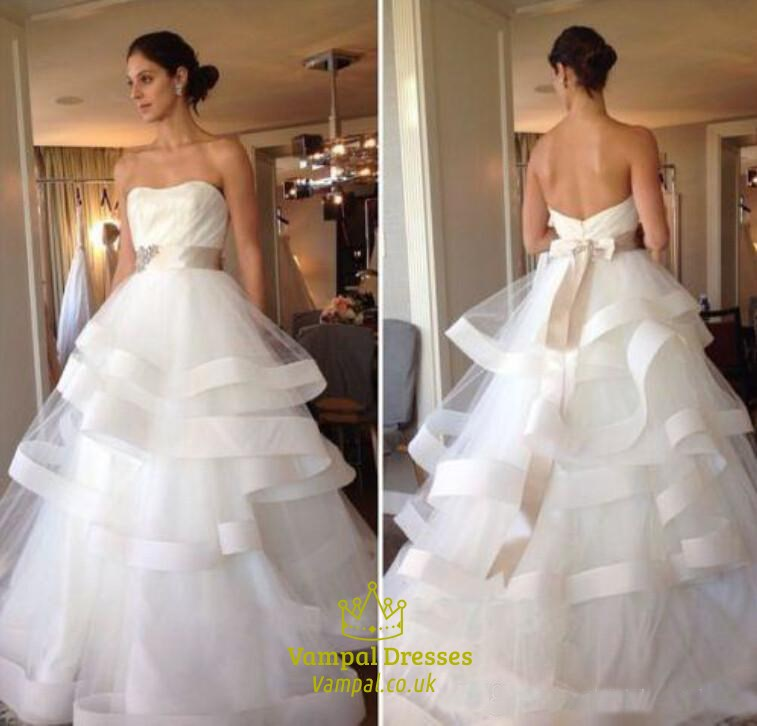 A-Line Strapless Ruffled Bottom Ball Gown Wedding Dress With Belt ...