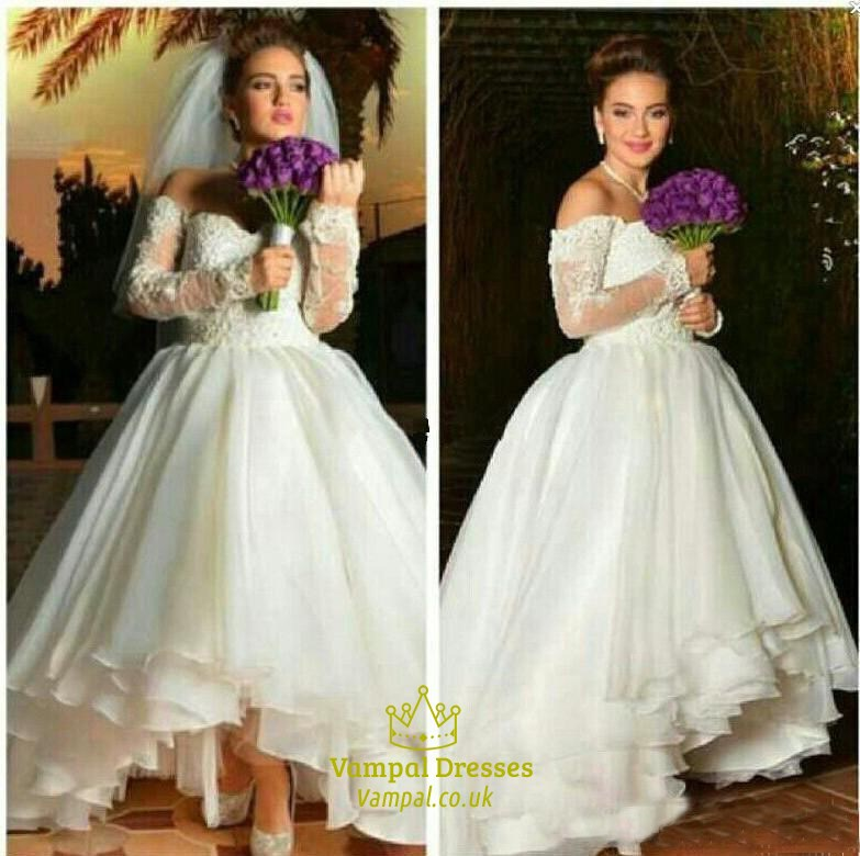 A line off shoulder sweetheart high low wedding dress with for Long sleeve high low wedding dresses