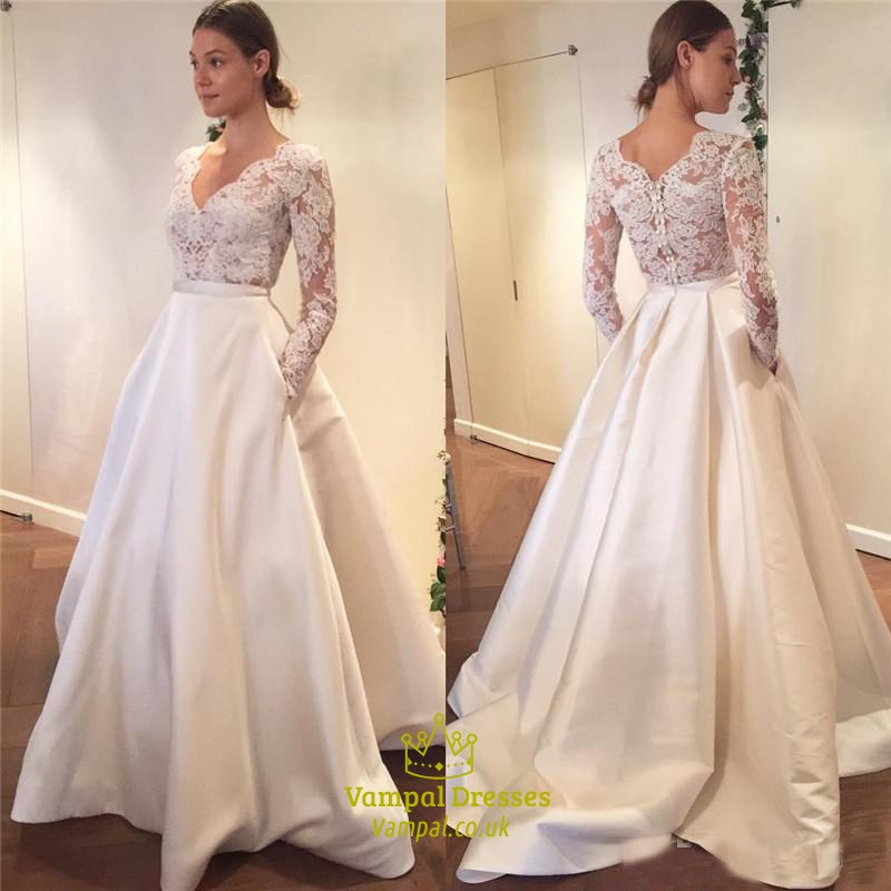simple elegant long sleeve v neck a line lace top satin wedding dress