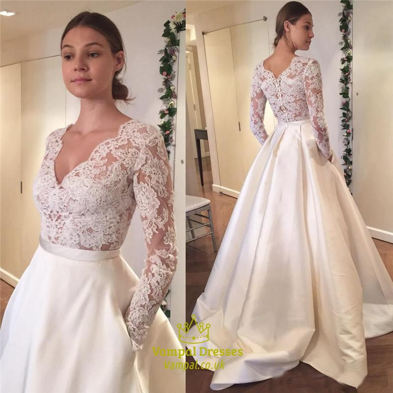 2018 New Simple Elegant Wedding Dress Beautiful Lace A: Simple Elegant Long Sleeve V-Neck A-Line Lace Top Satin
